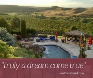 "Photo of CHM's pool and patio with maroon banner across the bottom saying ""truly a dream come true"" - seattlerefined.com"